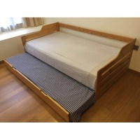 single bed + pull out trundle bed, 2-in-1 bed frame plus ...
