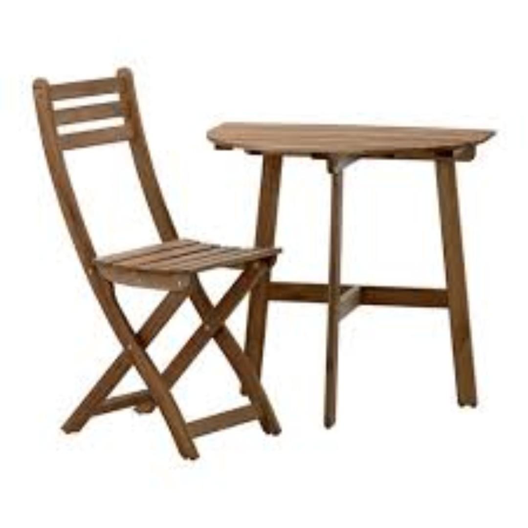 ikea askholmen small semi circle patio table folding chair