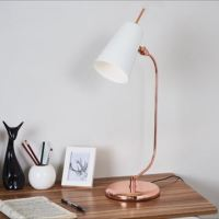 Luxe Rose Gold Natural Marble Desk Study Office Table Lamp ...