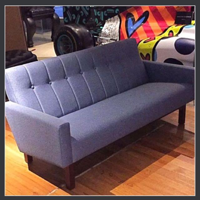 eames sofa 3 seat omega mocha microsuede reclining midcentury style designer seater teakwood scandinavian photo