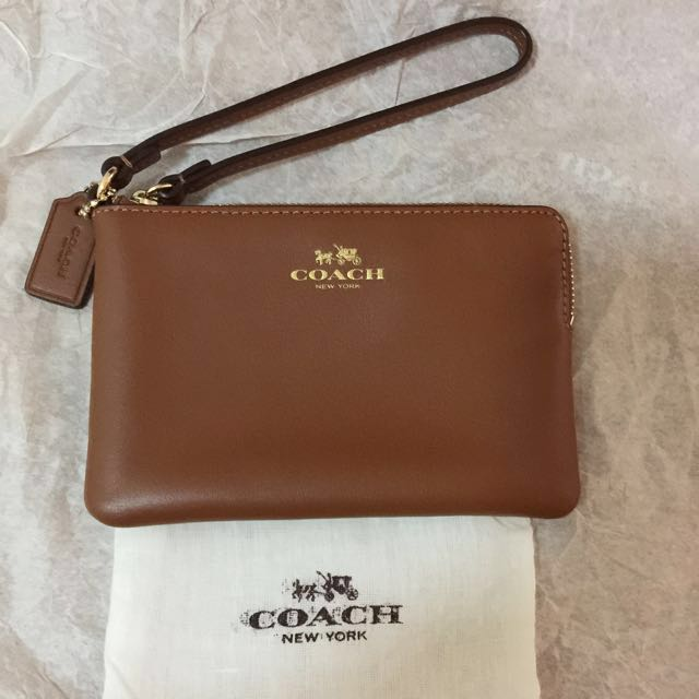 coach brown leather wallet wristlet phone case key holder with dustbag great gift mk kate tory