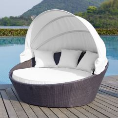 Canopy Daybed Outdoor Wicker Sun Sofa Lounge How To Make Easy Cushion Covers Rattan Patio Round Bed Day With Retractable Furniture Sofas On Carousell