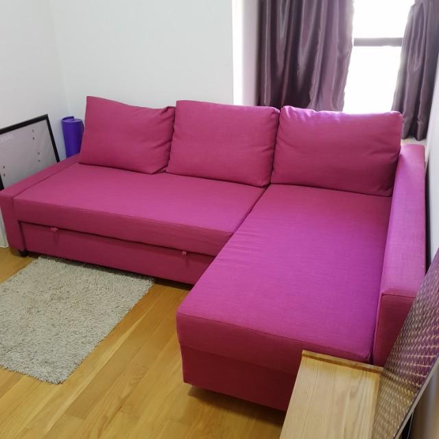 sofa bed ikea friheten series pink