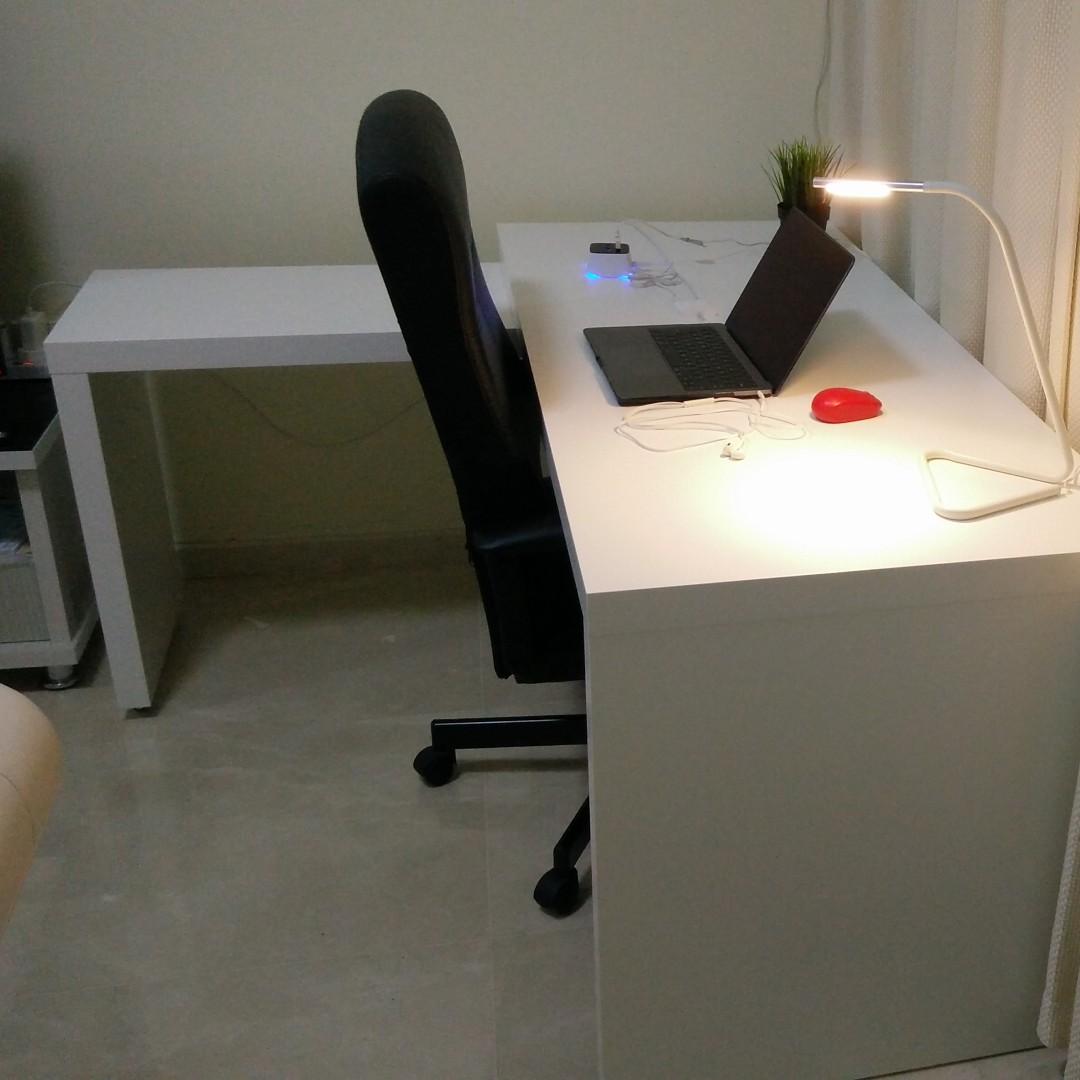 Ikea MALM desk with pullout panel white Furniture