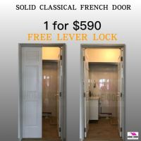 Solid classical wooden french door for HDB/BTO, Furniture