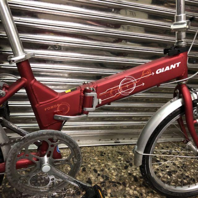 二手捷安特腳踏車20吋六段變速鋁合金小折折疊腳踏車Giant fd806, Sports, Bicycles on Carousell