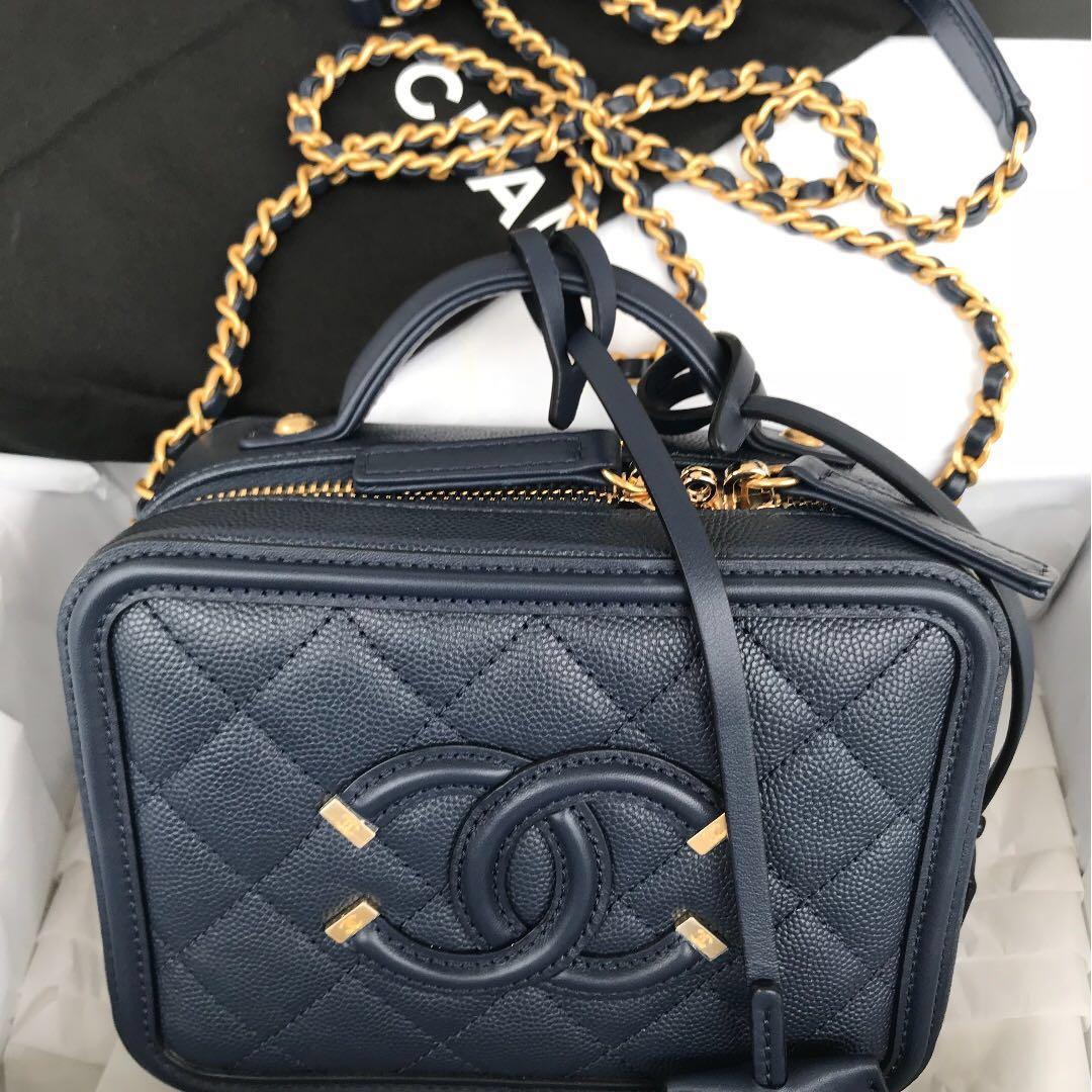 Chanel SS 2018 small CC Filigree Vanity Case Bag Luxury