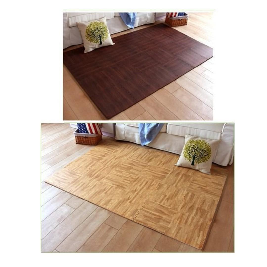 仿木紋膠地板($10/件,包送貨)地墊DIY拼接窗臺墊膠地墊坐墊室內BB毯保護毯廚房睡房隔音, 傢俬&家居, 傢俬 ...
