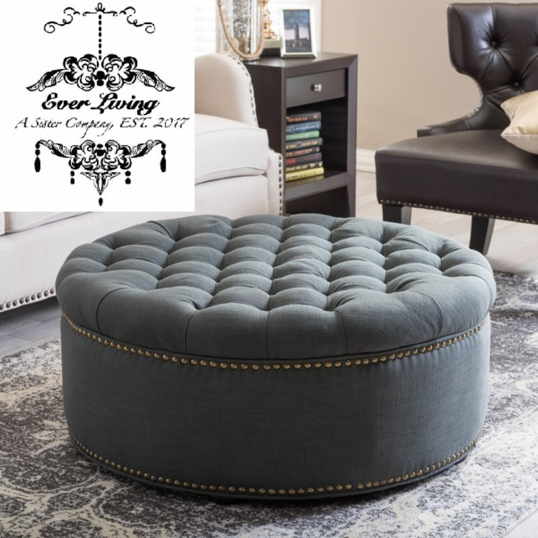 luxe l tufted round ottoman