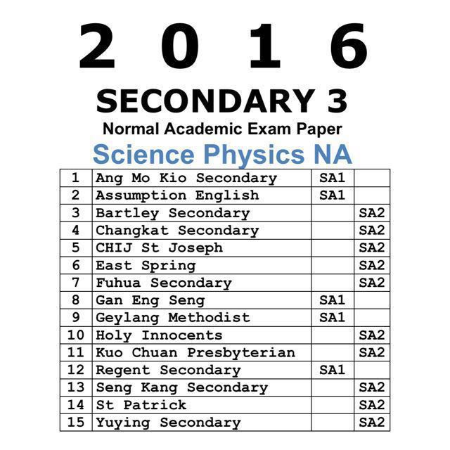 2016 Sec 3 Combined Science Physics NA Past Year Exam
