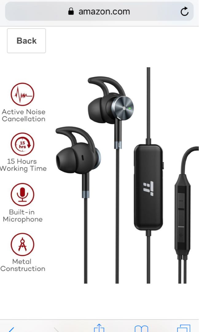 Taotronics Tt-ep01 : taotronics, tt-ep01, TaoTronics, Active, Noise, Cancelling, Headphones,, Wired, Earphones, Corded, Earbuds, Hours, Playtime, Built-in, Microphone, (Noise, Reduction,, Aluminum, Alloy, Construction,, Gold-plated, Jack),, Electronics,, Audio, Carousell