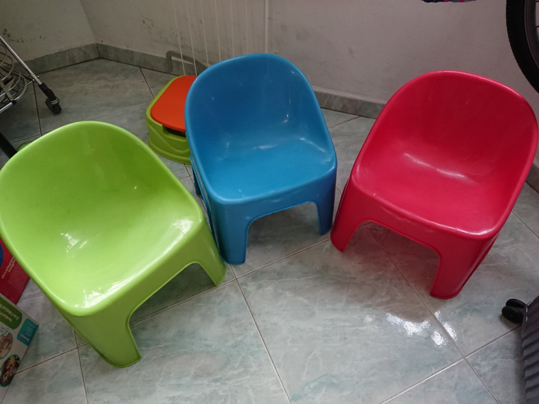 Plastic Kids Chairs Kids Chairs X 3 3 Different Colours Plastic
