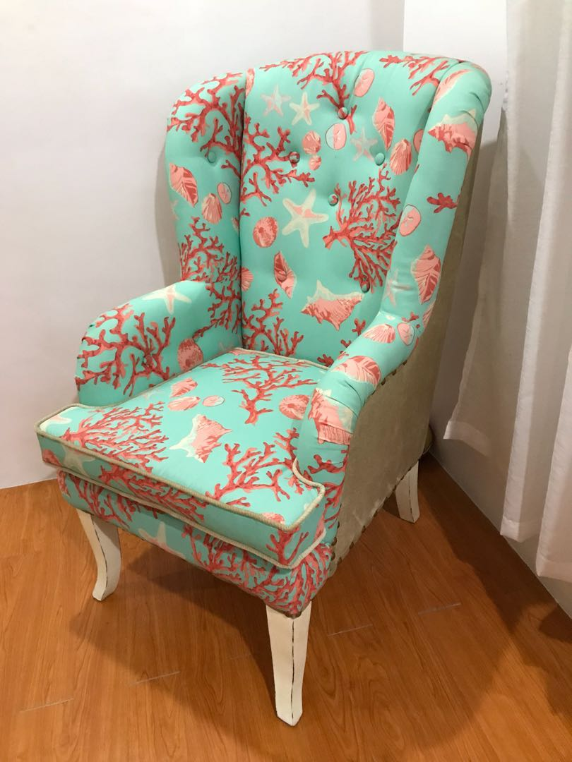 Teal Wingback Chair Coral And Teal Wingback Chair