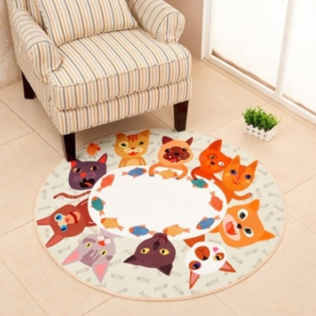 living room floor mats decor with dark brown leather sofa round premium handmade carpet mat furniture home on carousell