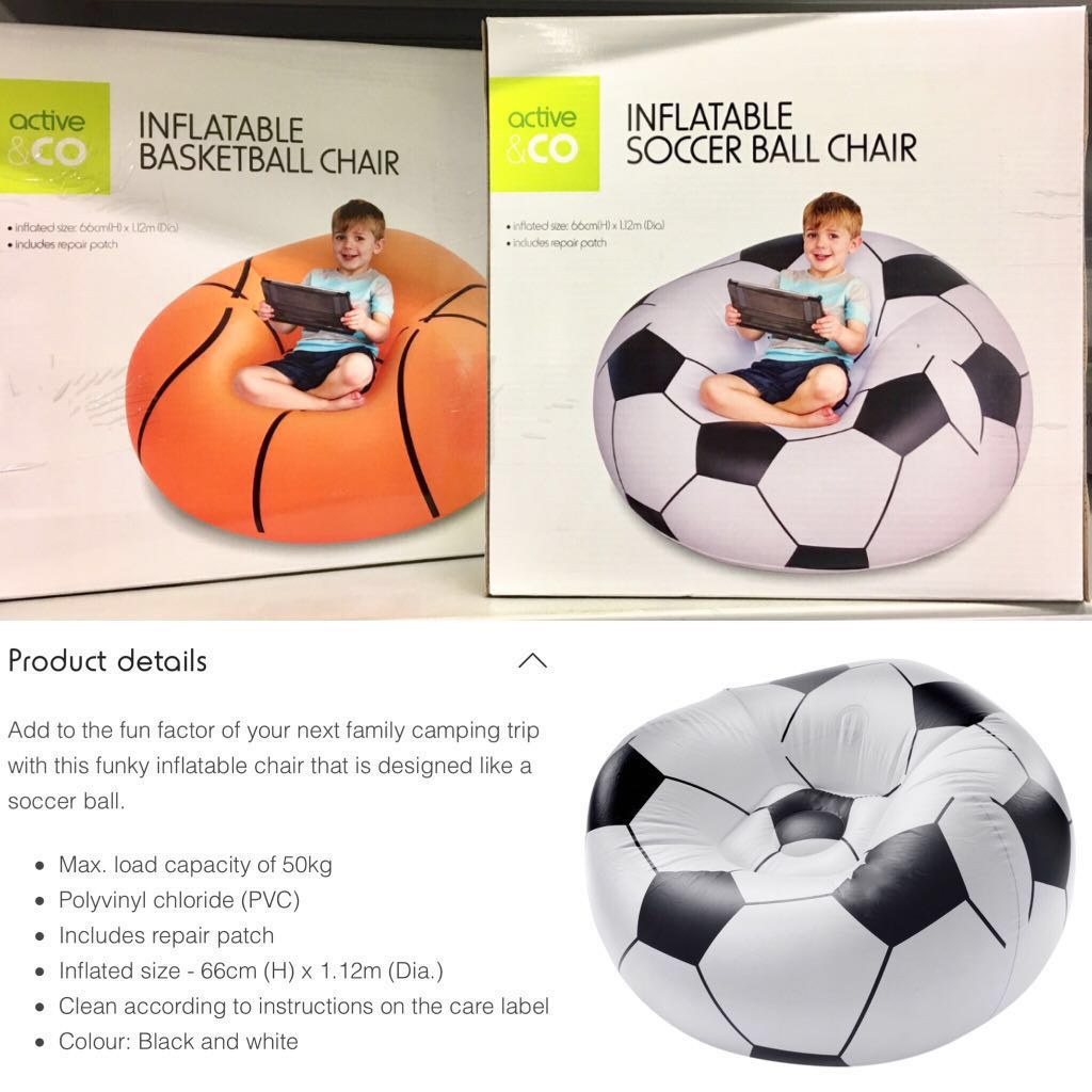 Basketball Bean Bag Chair Inflatable Chair Soccer Ball Basketball Camping Kids Boy Fun Home Room Deco