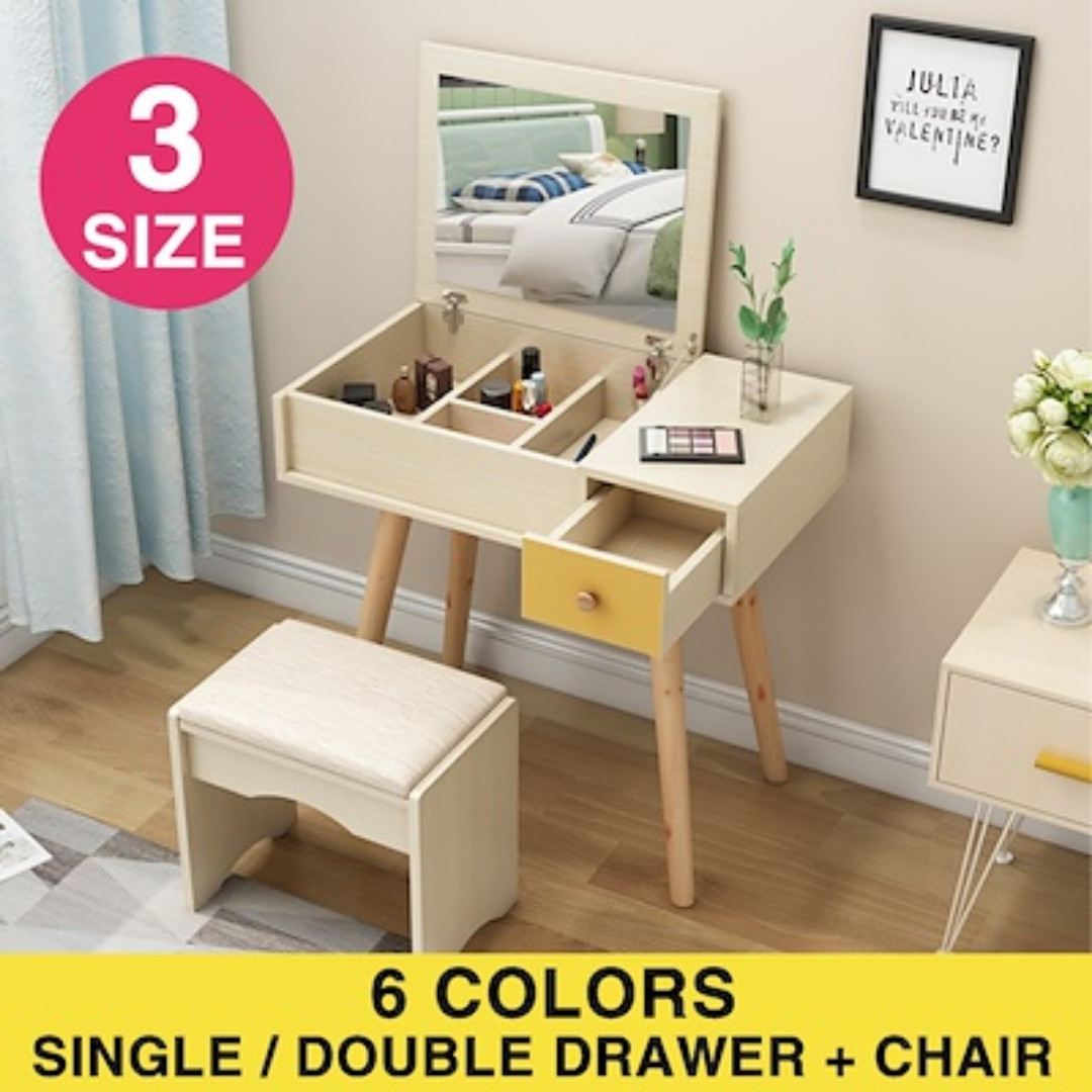 Makeup Table Chair Dressing Makeup Table With Fold Down Mirror 1 Chair