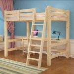 Ikea Wooden Loft Bed Frame With Table And Bookshelf Furniture Beds Mattresses On Carousell