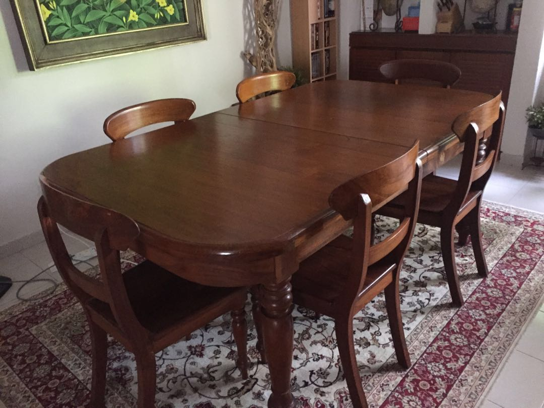 Teak Dining Room Chairs Gorgeous Teak Dining Table With 6 Matching Chairs