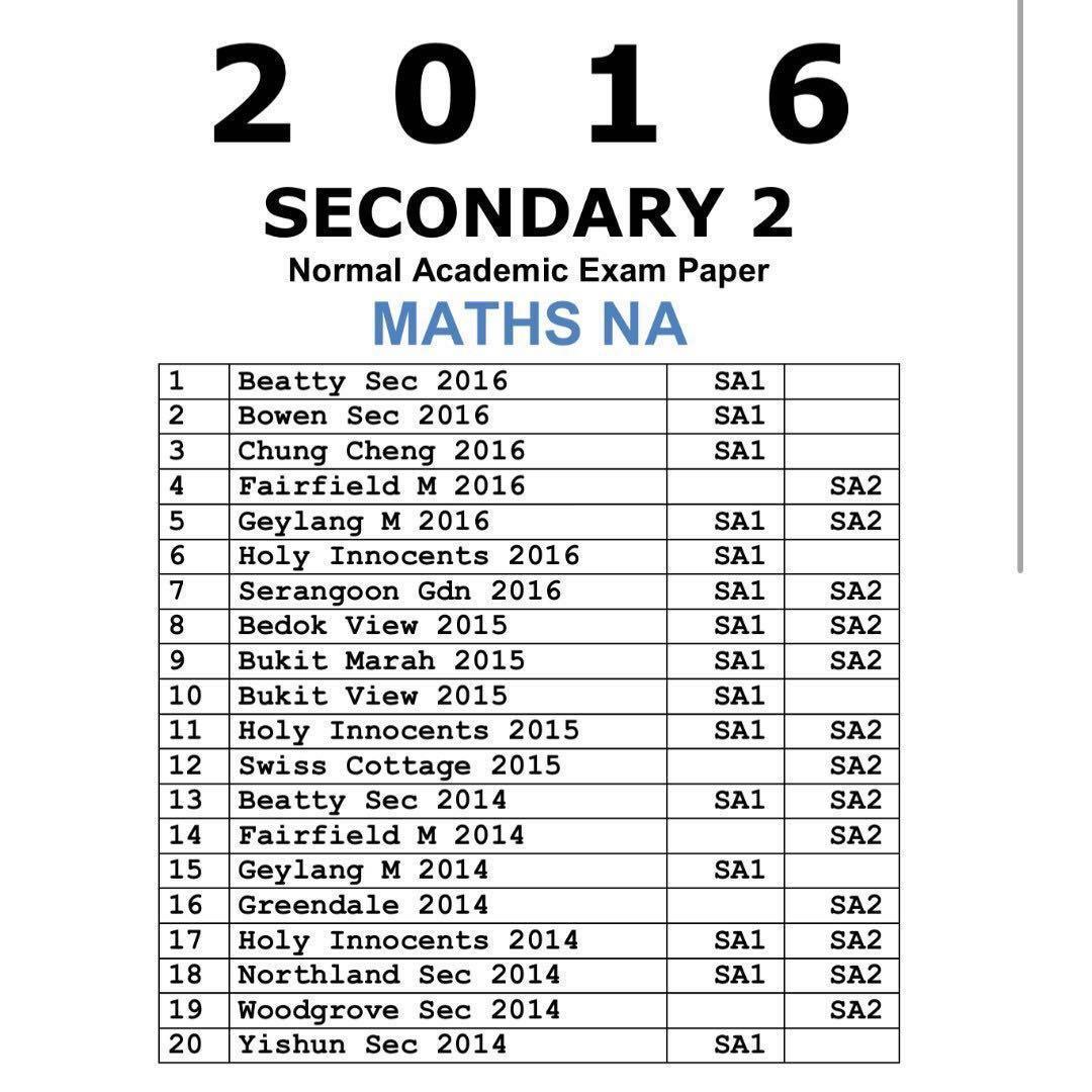 2016 Secondary 2 Maths / NA / Normal Academic / Maths