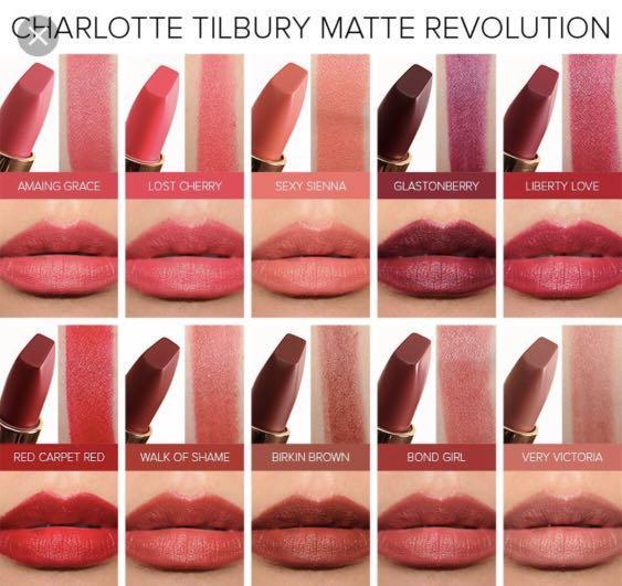 charlotte tilbury lipstick pillow talk bond girl very victoria amazing grace birkin brown