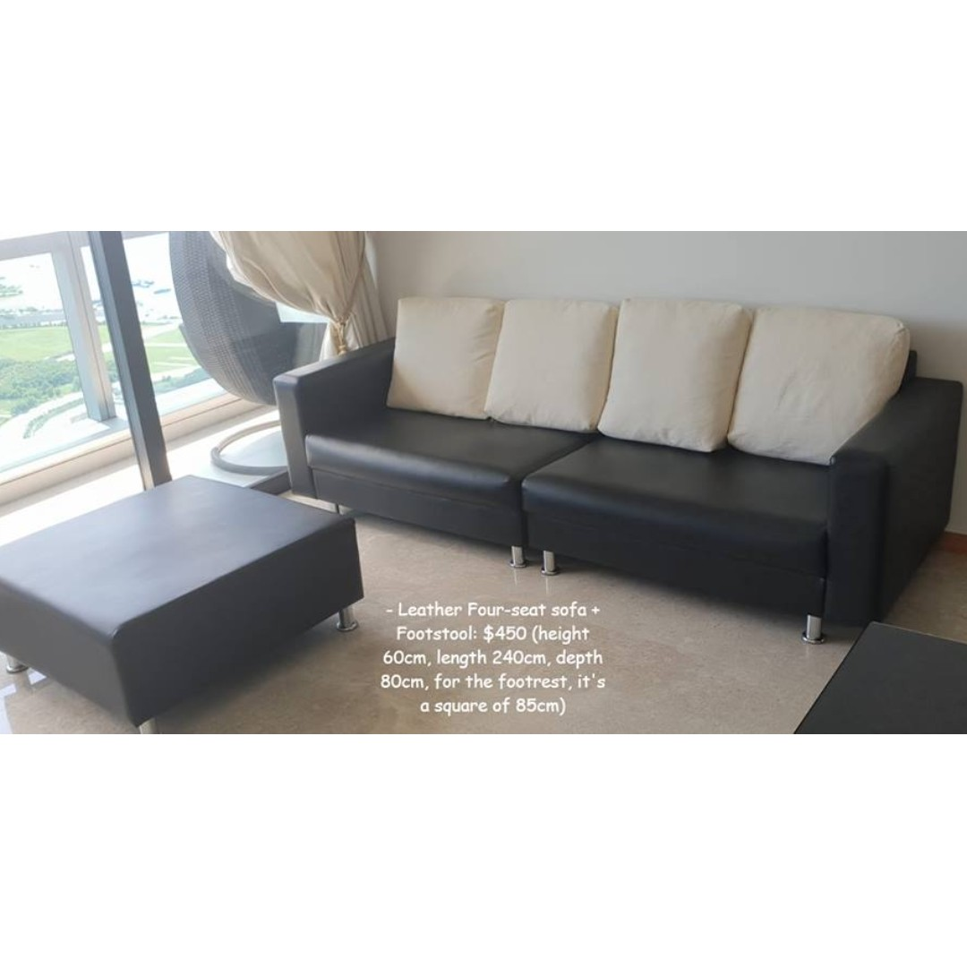 sofa seat height 60cm cheap sectional sofas portland leather black four footstool furniture on carousell