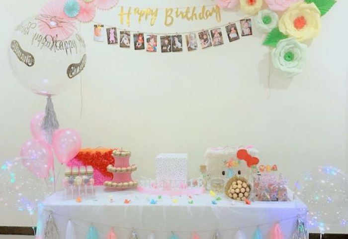 Baby Shower Happy Fullmonth Happy Birthday Setup Party Tulle