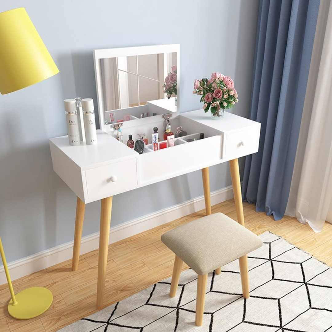Makeup Table Chair Fold Down Mirror Dressing Makeup Table With Chair 90cm