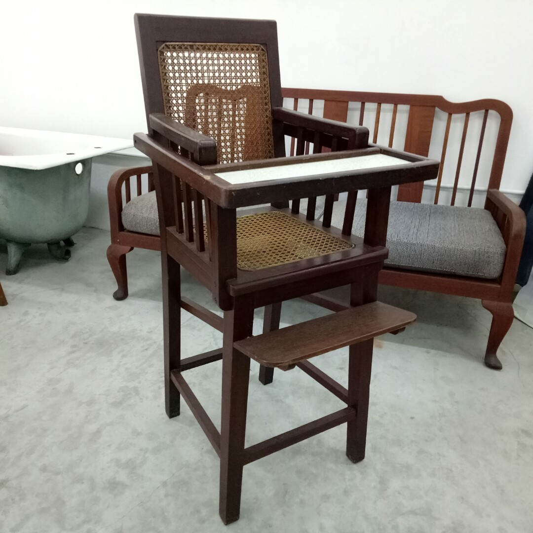 Wooden Baby High Chair Antique Vintage Wooden Baby High Chair With Table Top Kerusi