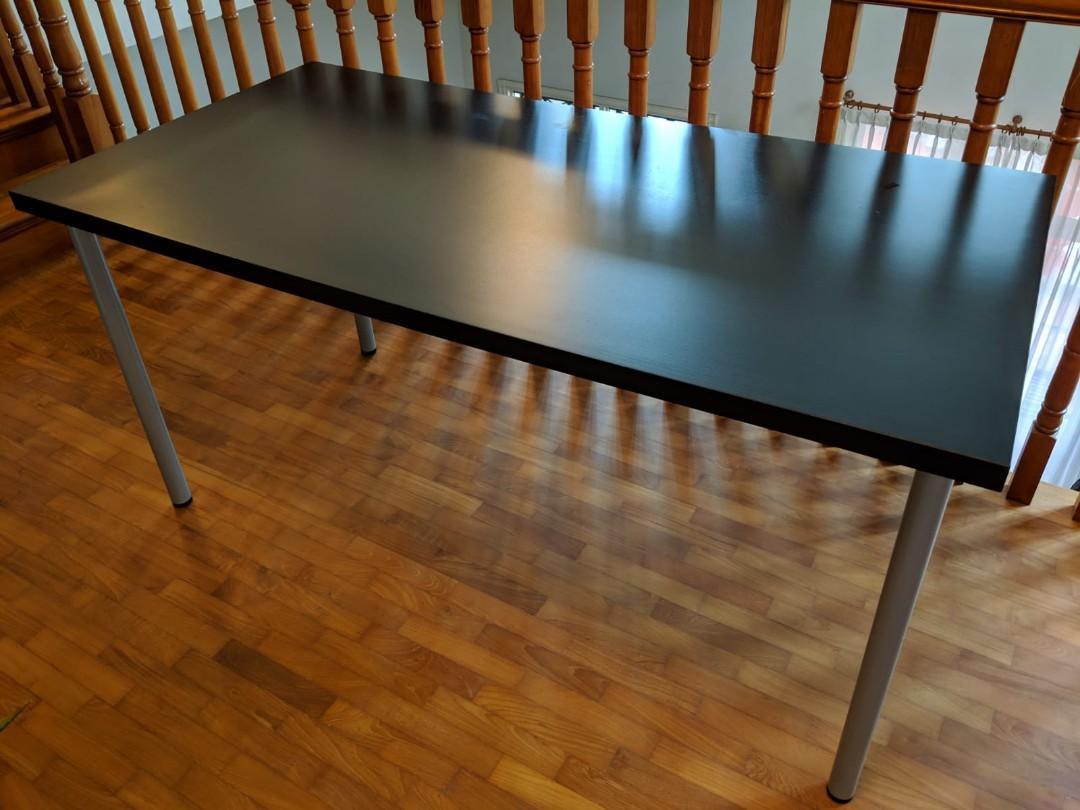 Large Ikea Computer Office Table Study Desk Black Brown Furniture Tables Chairs On Carousell