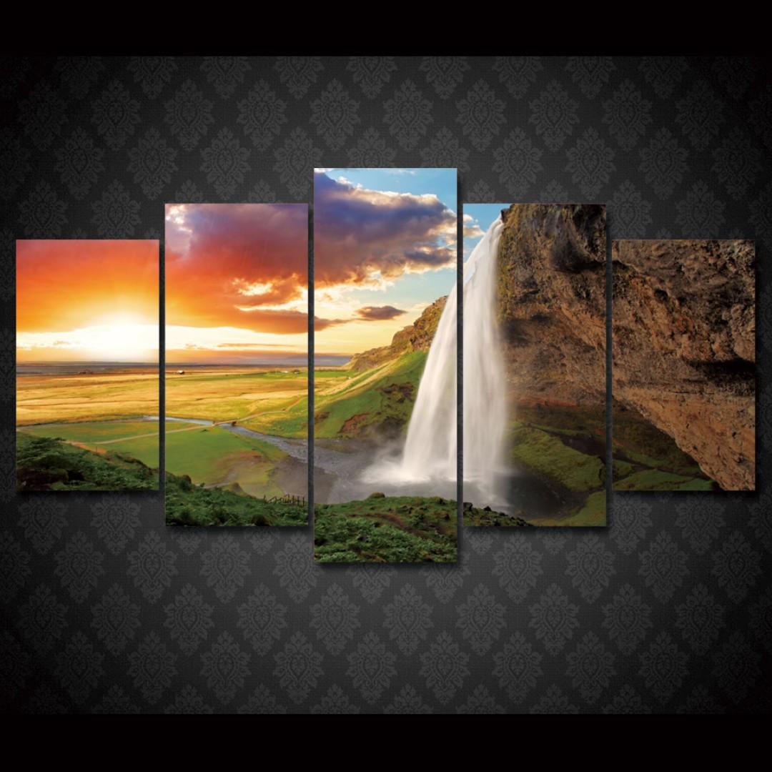 framed print sunset waterfall