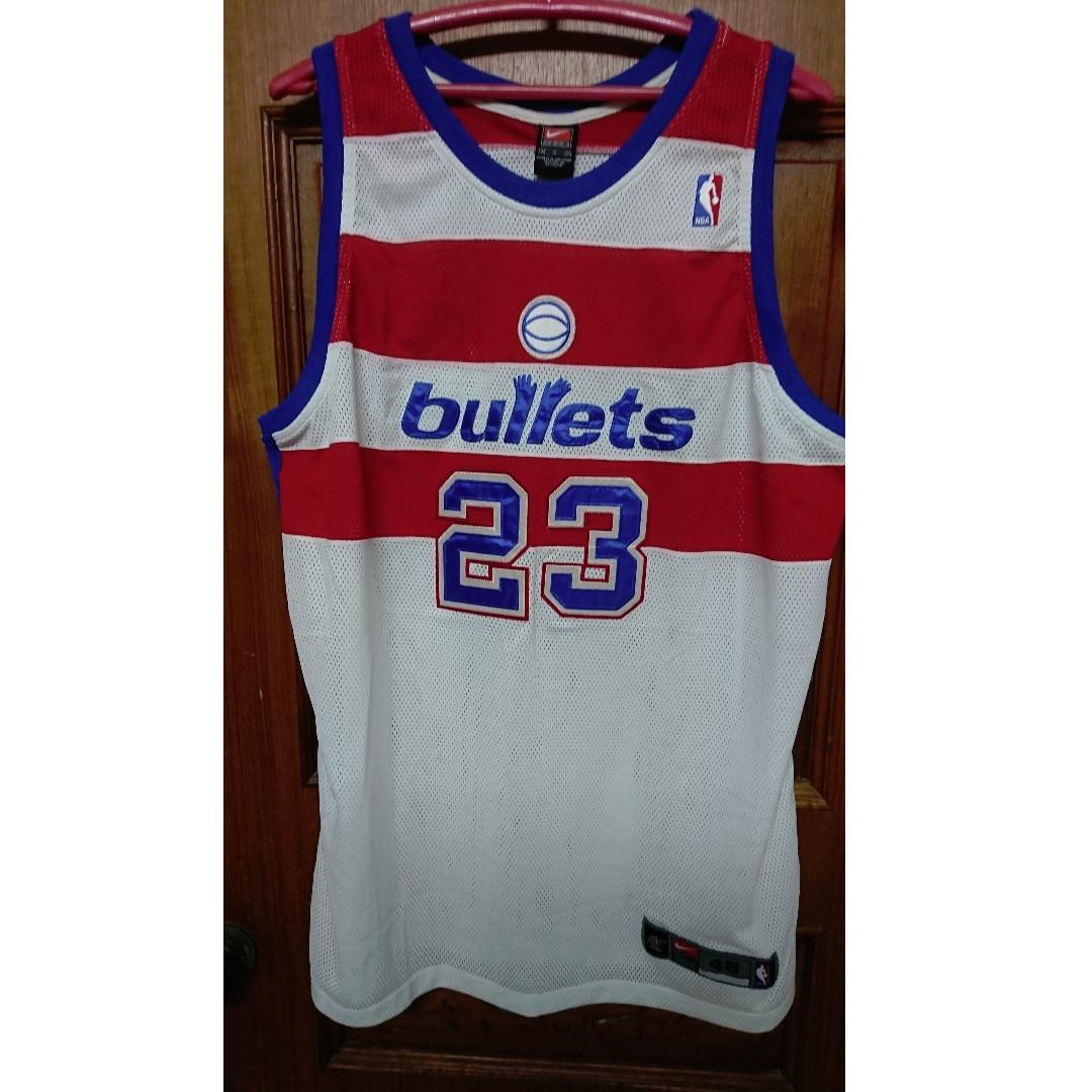 NBA華盛頓巫師隊復古子彈Michael Jordan白紅色球衣球員版AU48號, Sports, Men's Athletic & Sports Clothing on Carousell