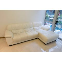 Courts Sofa Dark Living Room Ideas White Genuine Leather L Shaped From 2000 Furniture Photo
