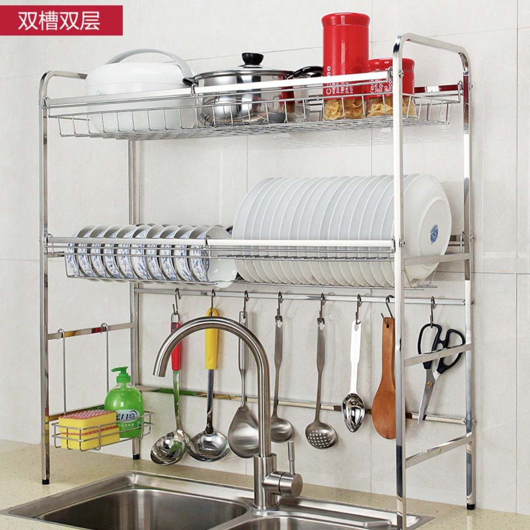304 stainless steel dual dish rack over sink countertop with hooks for kitchen