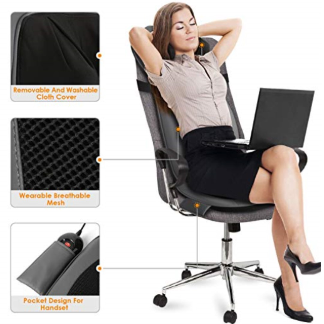 Office Chair Massager P13 Intey Shiatsu Massage Chair Pad Acupressure Therapy Back Massager Cushion With Heat Back Neck Vibrating Seat Functions For Home Office