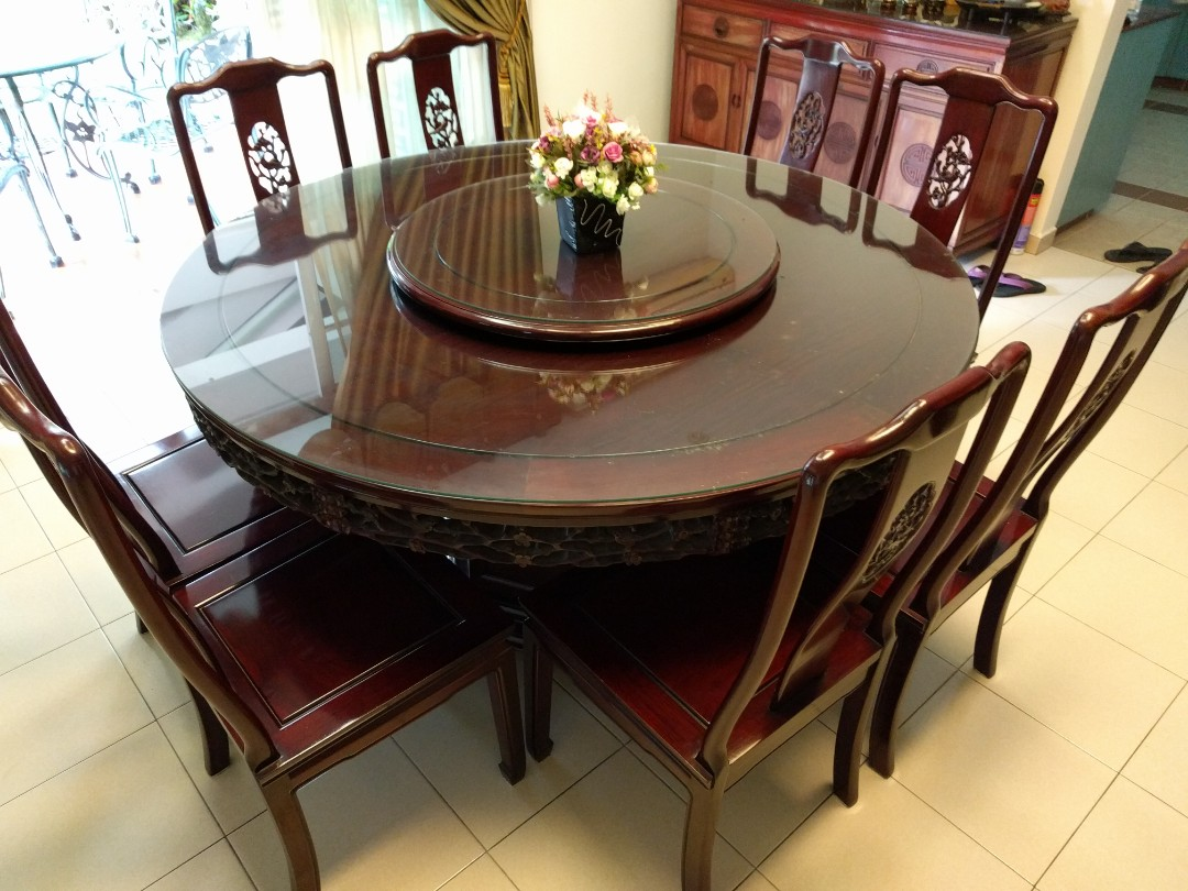 8 Chair Dining Set Rosewood Round Table Dining Set With 8 Chairs