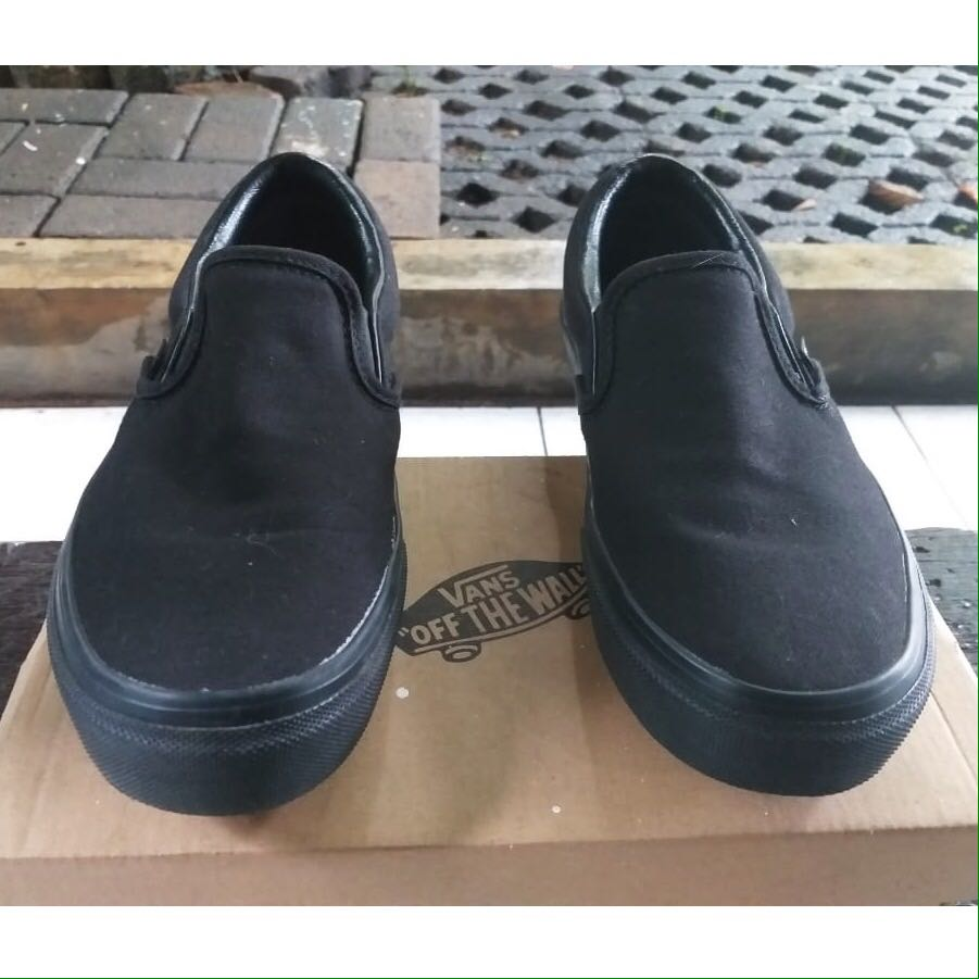 All Black Leather Slip Ons