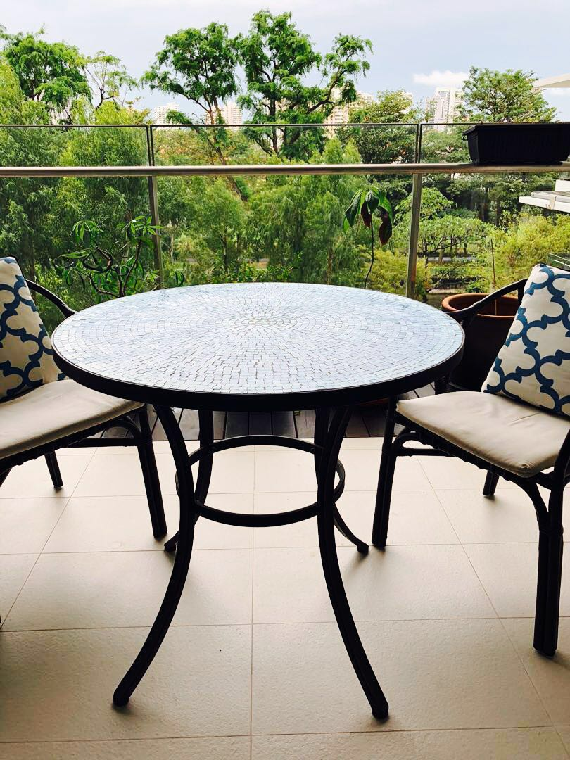 Metal Bistro Table And Chairs Blue Mosaic Bistro Table Outdoor Table Balcony Table