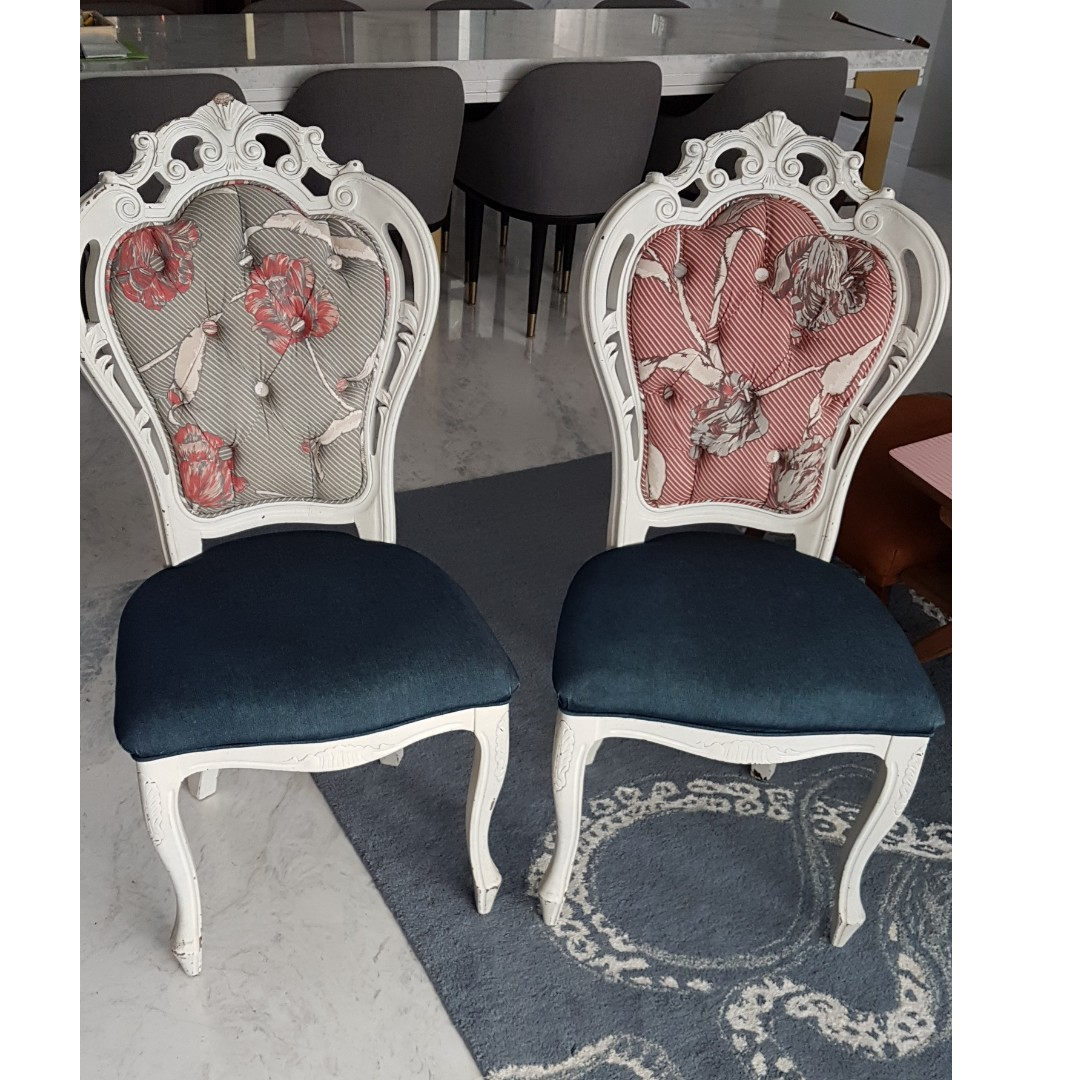 Refurbished Chairs Pair Of Refurbished Victorian Vintage Style Chairs Denim