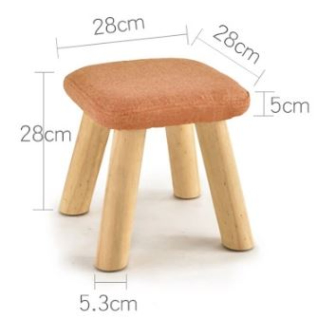 Small Stool Chair Small Stool Stool Solid Wood Fashion Stool Fabric Chair