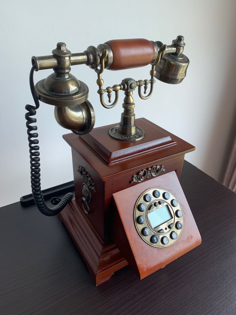hight resolution of vintage rotary phone retro telephone with wood and metal body vintage collectibles vintage collectibles on carousell