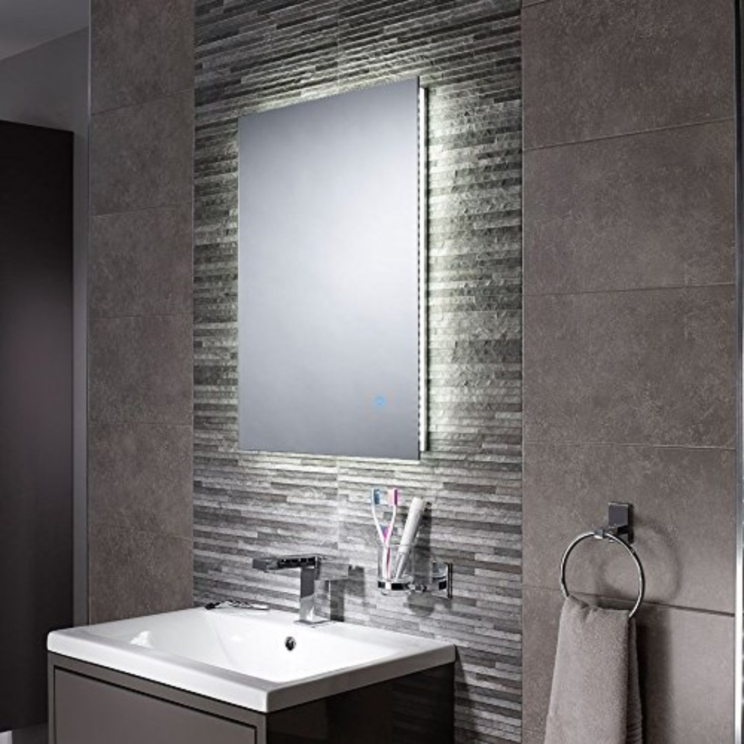 Illuminated Bathroom Mirror Pebble Grey Bathroom Mirror Led Illuminated Bathroom Mirror Ip44 Rated Backlit Wall Mounted Mirror With Touch Sensor Switch Savannah 500 X 700