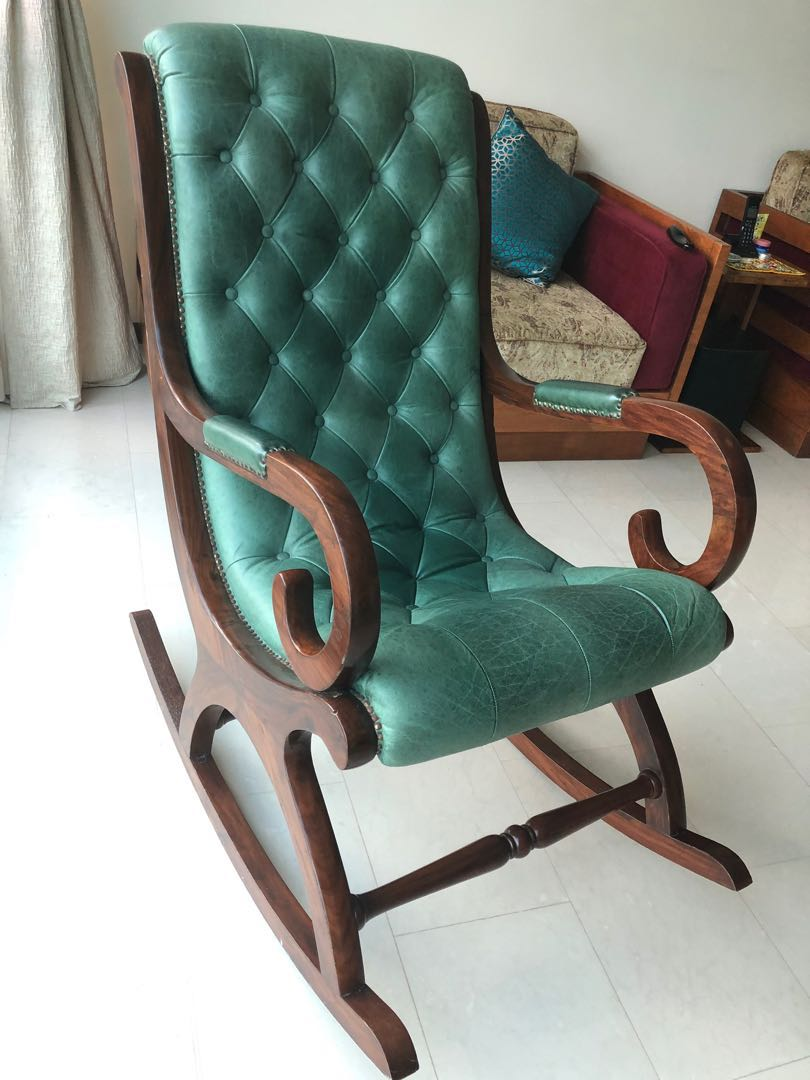 Leather Rocking Chair Rocking Chair Wood And Leather