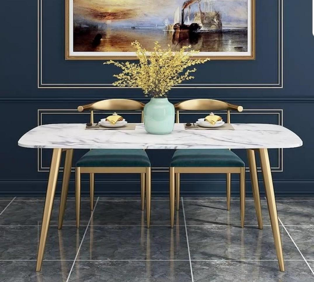 Marble Dining Table With Gold Legs Furniture Tables Chairs On Carousell