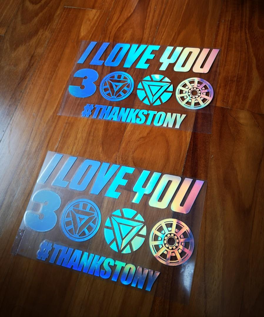 """Download Car decal sticker - avenger iron man """"I love you 3000 ..."""