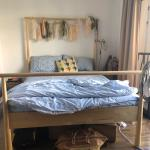 Ikea Queen 4 Poster Birch Wood Bed Mattress Furniture Beds Mattresses On Carousell
