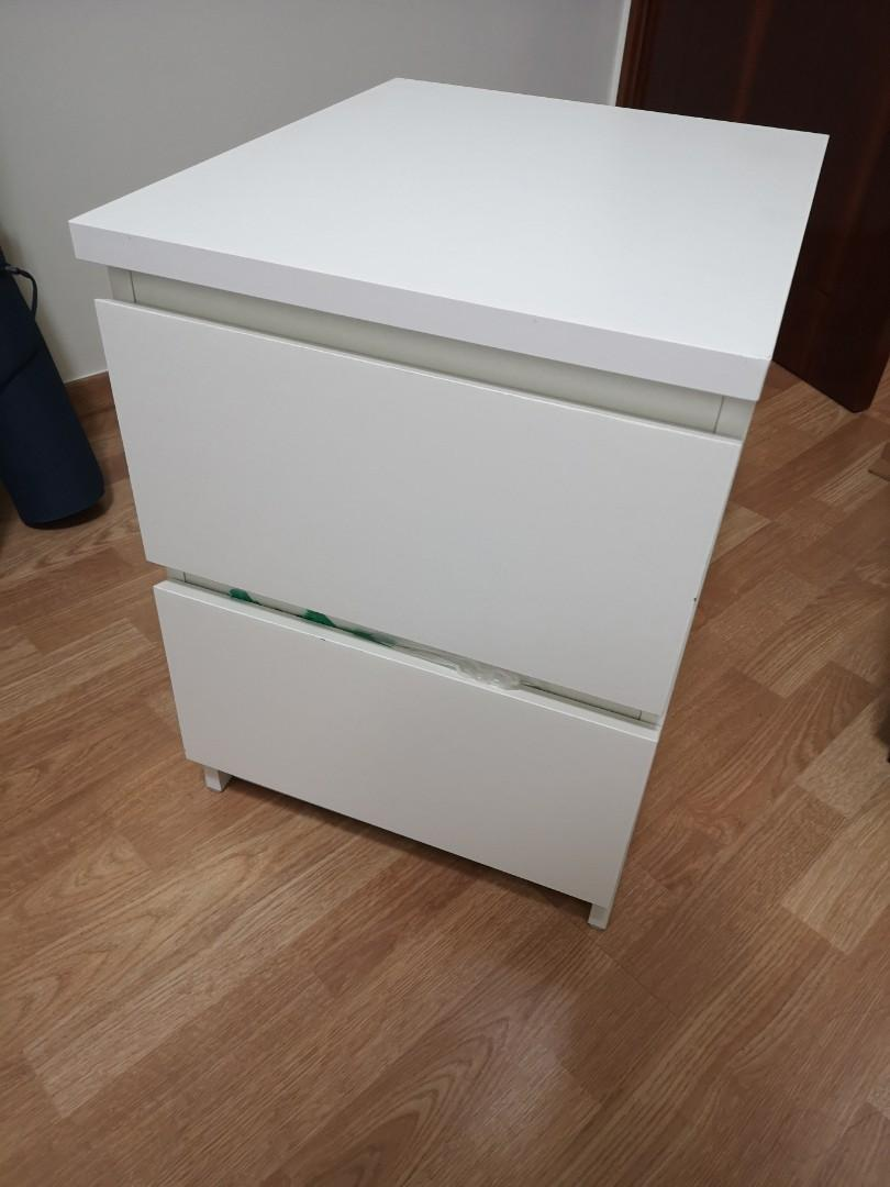Ikea Bedside Table Malm White 2 Drawer Chest Furniture