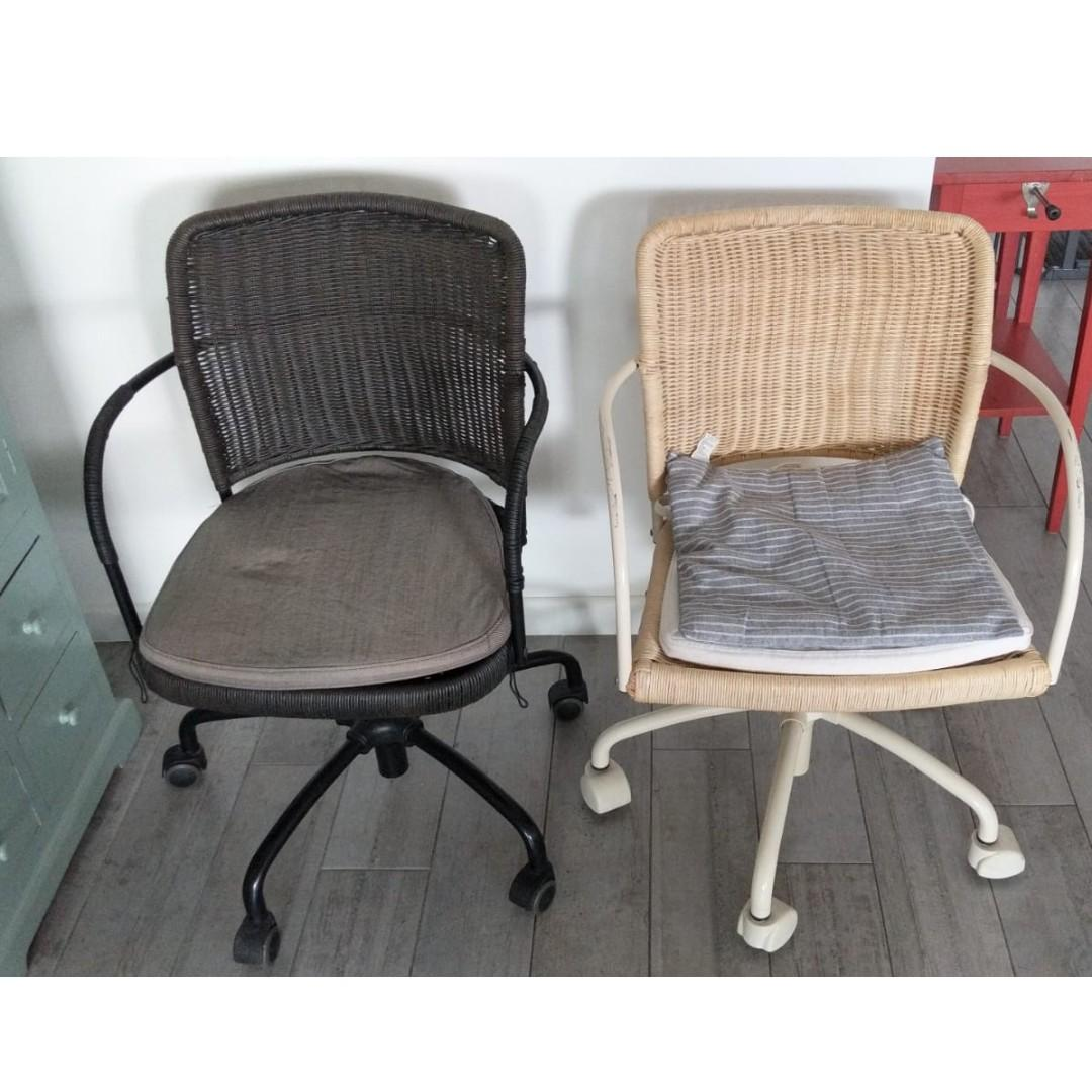 Ikea Rattan Wicker Office Chairs X 2 Black White Furniture Tables Chairs On Carousell