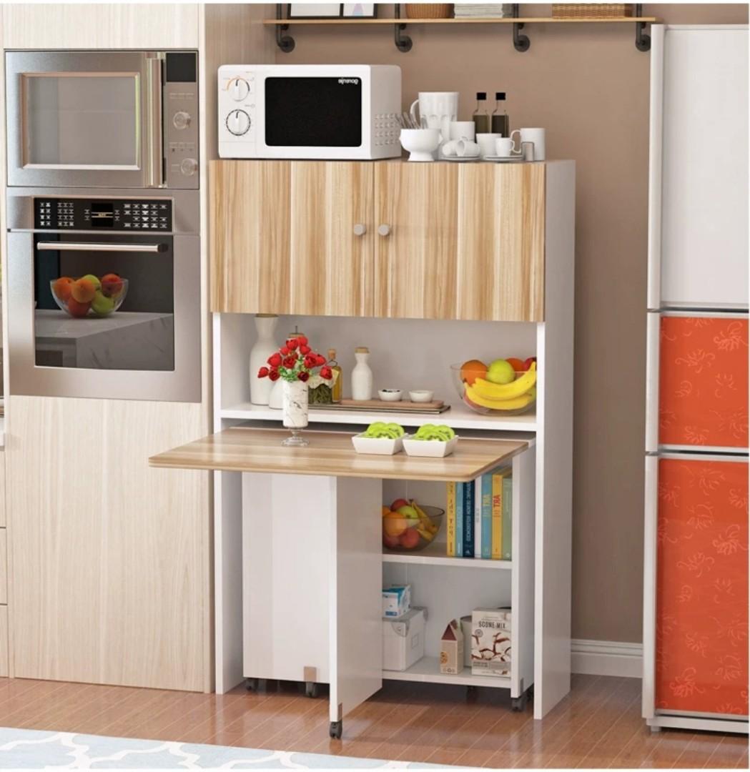 (訂貨價:$528up)邊櫃+摺疊餐桌 120|140cm 折疊飯枱 蝴蝶枱 餐枱 Table+Side Cabinet, Home & Furniture, Furniture on Carousell