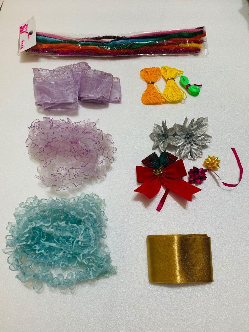 手作材料 任選每堆15元 蕾絲花邊 緞帶 毛鐵絲 金蔥鐵絲 緞帶禮花 #搬家囉, 手作設計, 藝術工具 & 材料在旋轉拍賣