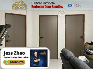 Hdb Laminate Wooden Kitchen Door And Bedroom Door Home Services Renovations On Carousell